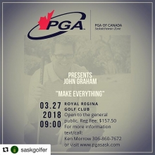 Do you want to make more putts and shoot lower scores in 2018? Check out this years @pgasask Education Seminar with @pgatour & @lpga_tour coach @johngrahamgolf. Talk to your local PGA Professional for more info or register today at pgasask.com.  #Repost @