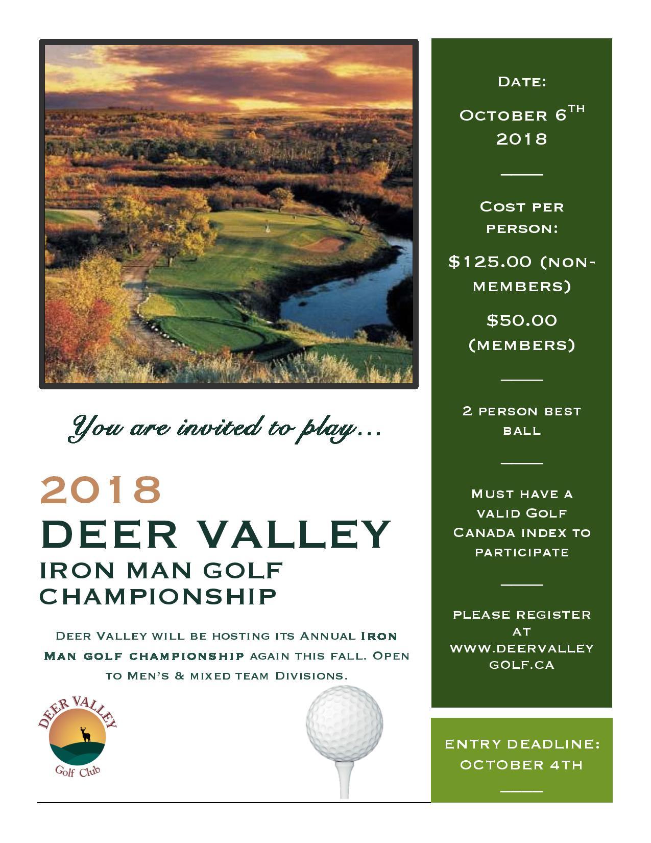 Iron Man Golf Tournament October 6th - Image 1