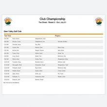 Day 2 Draw of Club Championship is set! Tee times start at 9:00am tomorrow! Good luck to all of our competitors going into day 2! #dvchamp #clubchamp #teamdv