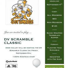 Sign up for our 2 Man Scramble Event running on September 6th! 1:00pm shotgun with Chef Kenny's Bacon Wrapped Tenderloin for supper! Phone the pro shop to register today! #dvscramble #teamdv #mmmsteak