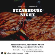 If you missed the first one, now is your opportunity to come on out to Deer Valley and enjoy the perfect fall scenery and the best steak meal you've had in a very long time. With attention paid to every detail, you will walk away with a full belly and a